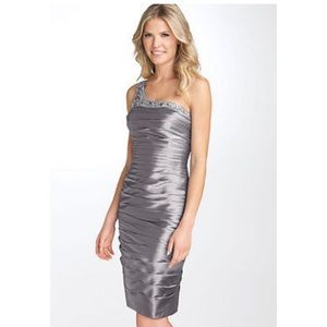 Adrianna Papell One Shoulder Ruched Satin Dress